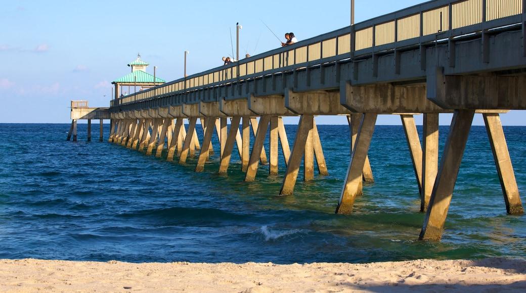 Deerfield Beach Pier featuring a beach
