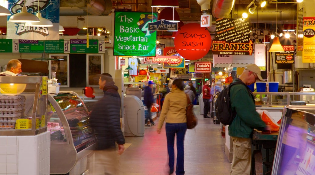 Reading Terminal Market which includes cbd, signage and interior views