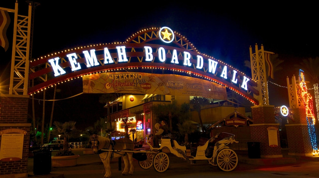 Kemah Boardwalk which includes signage, rides and night scenes