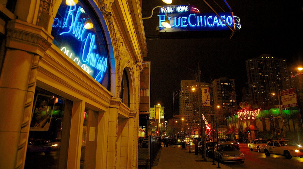 Magnificent Mile - River North which includes street scenes, signage and night scenes