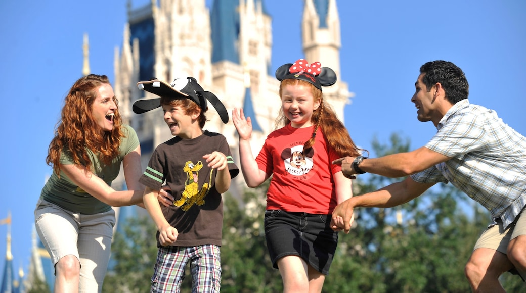 Magic Kingdom® Park featuring rides and a castle as well as a family