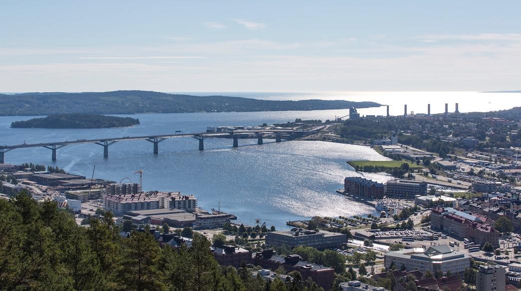 Sundsvall das einen Bucht oder Hafen, Brücke und Stadt