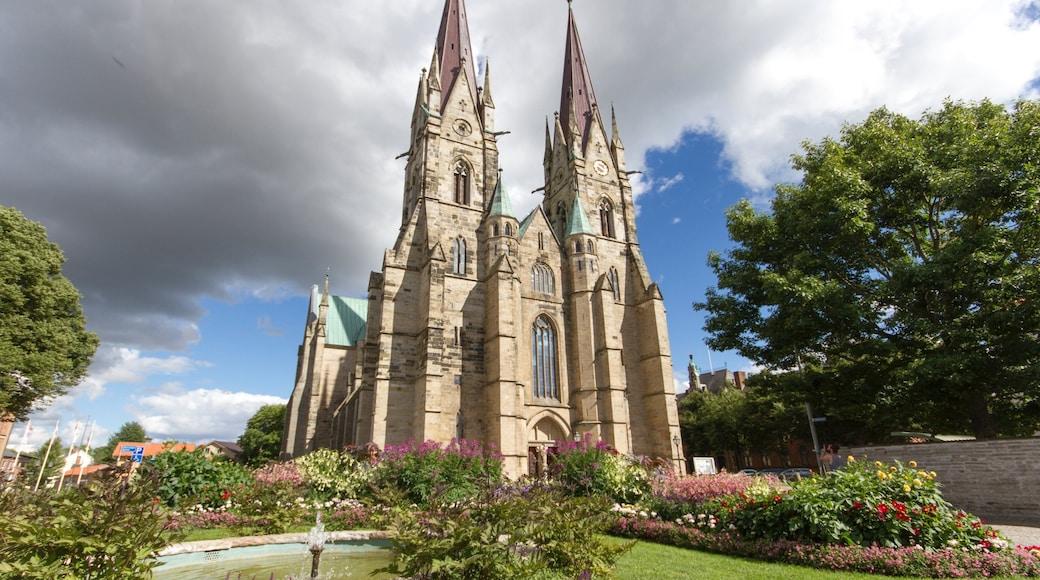 Skara som inkluderar en park, blommor och en kyrka eller katedral