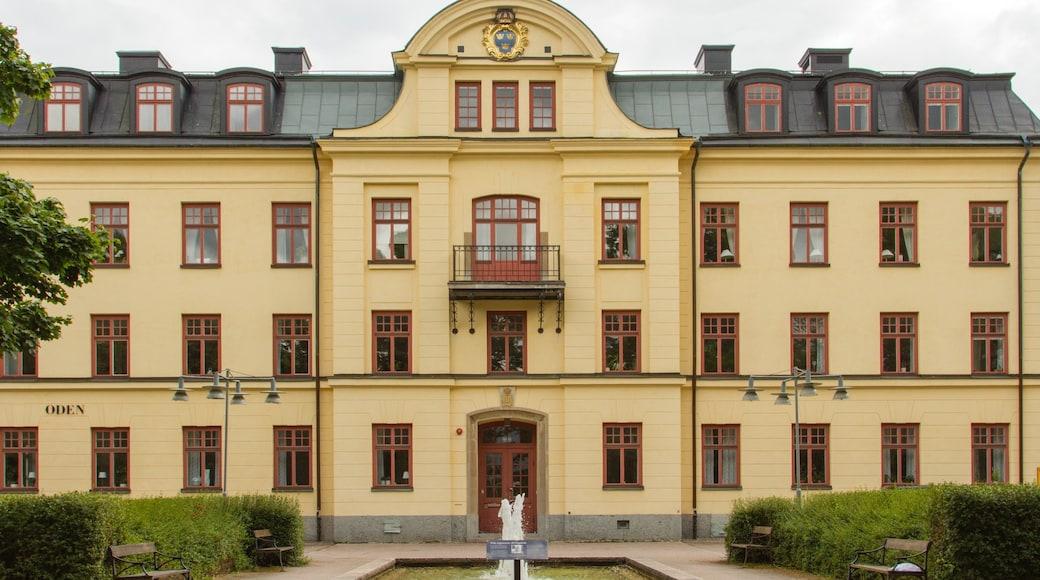 Gavle toont historisch erfgoed en een fontein