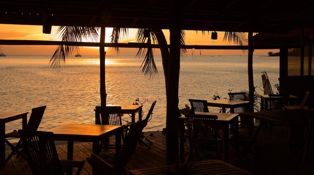 Matira Beach featuring interior views, general coastal views and a sunset