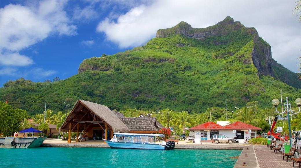 Hafen von Vaitape welches beinhaltet tropische Szenerien, allgemeine Küstenansicht und Berge