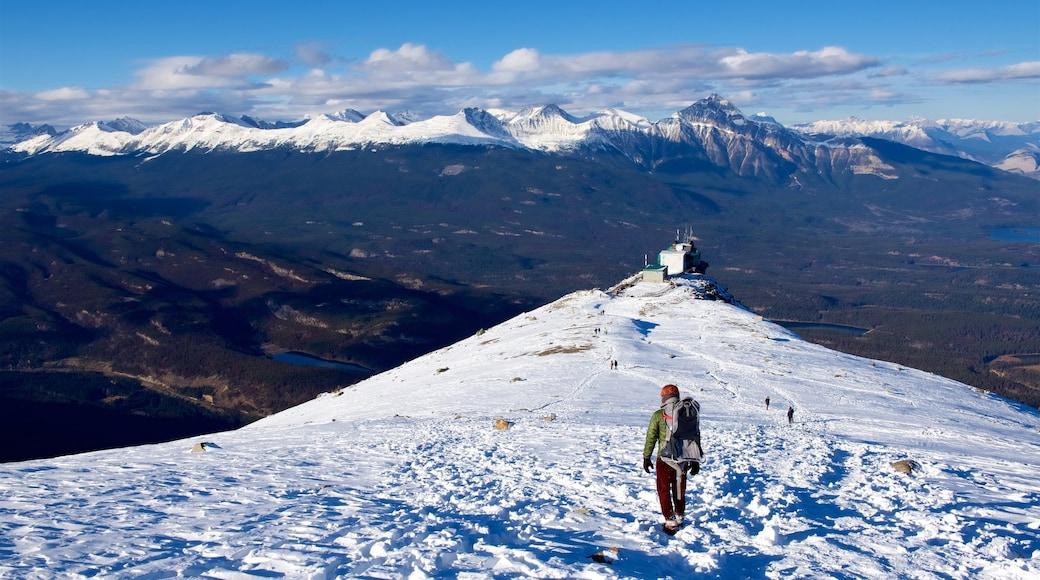 Jasper National Park que incluye nieve, montañas y escenas tranquilas