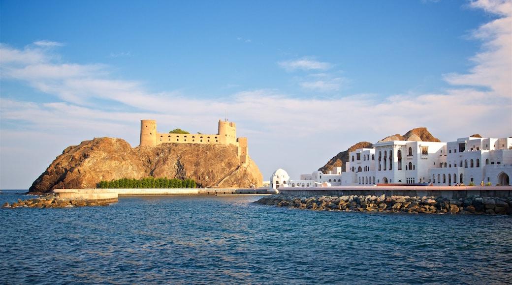 Festung Al-Dschalali mit einem allgemeine Küstenansicht und Burg