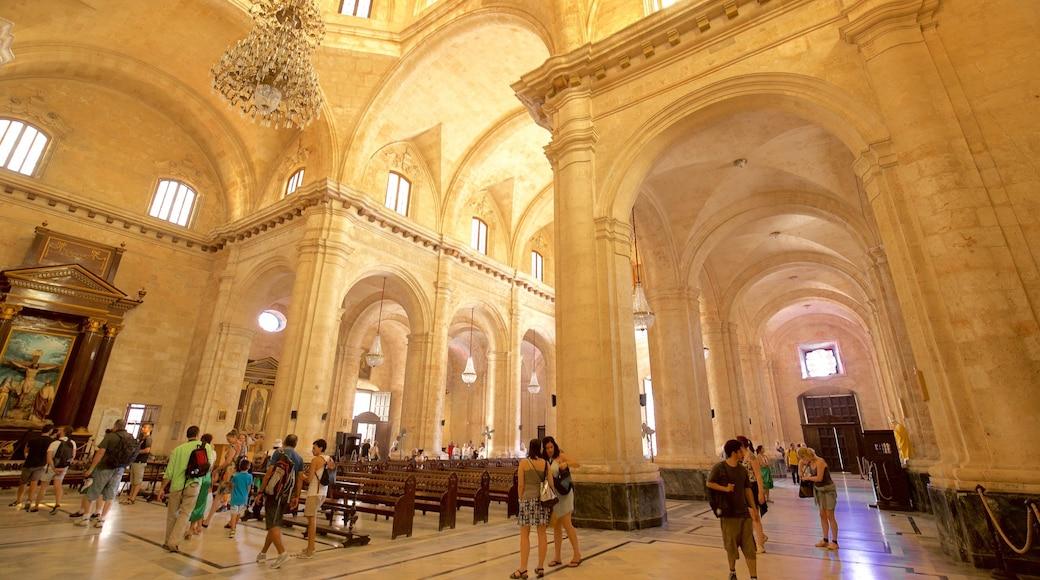 Havana Cathedral welches beinhaltet Innenansichten, Kirche oder Kathedrale und Geschichtliches