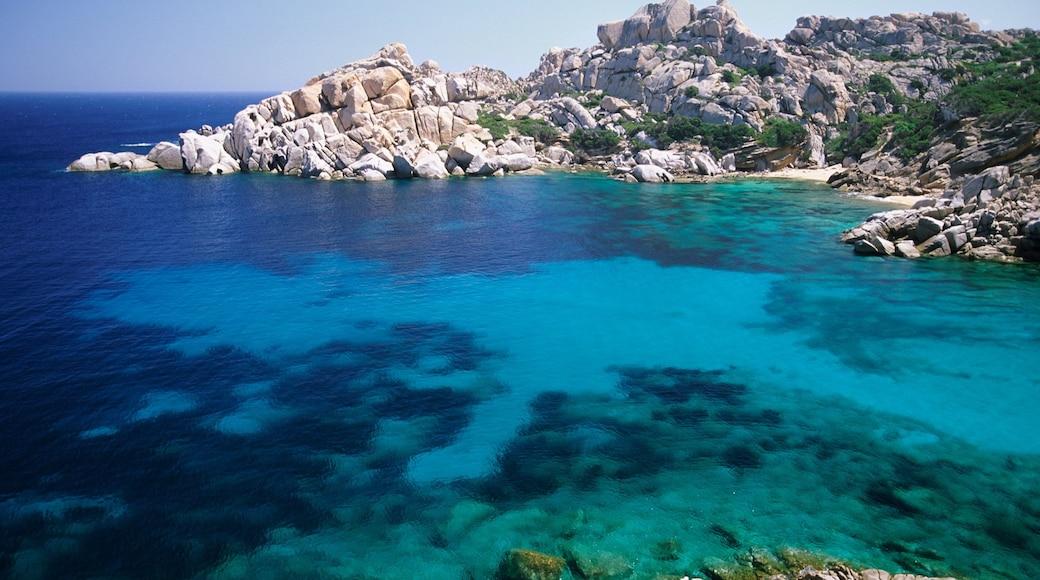 La Maddalena das einen tropische Szenerien, allgemeine Küstenansicht und schroffe Küste