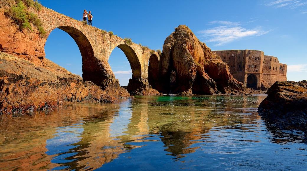 Berlenga Island mostrando ponte, costa rocciosa e oggetti d\'epoca