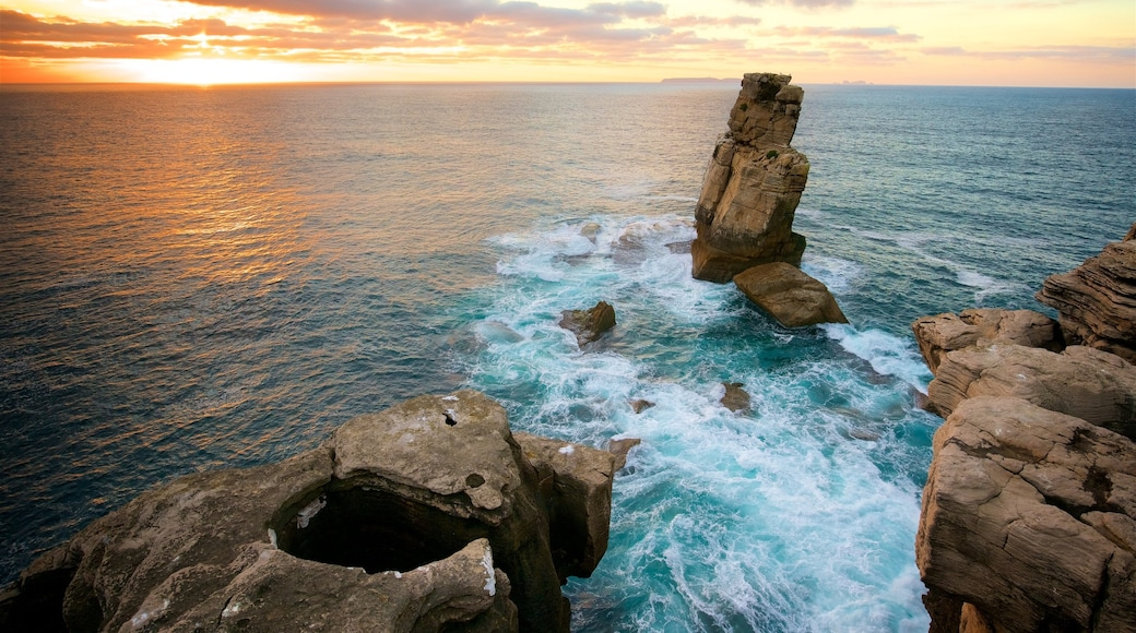 Cabo Carvoeiro featuring general coastal views, a sunset and rugged coastline