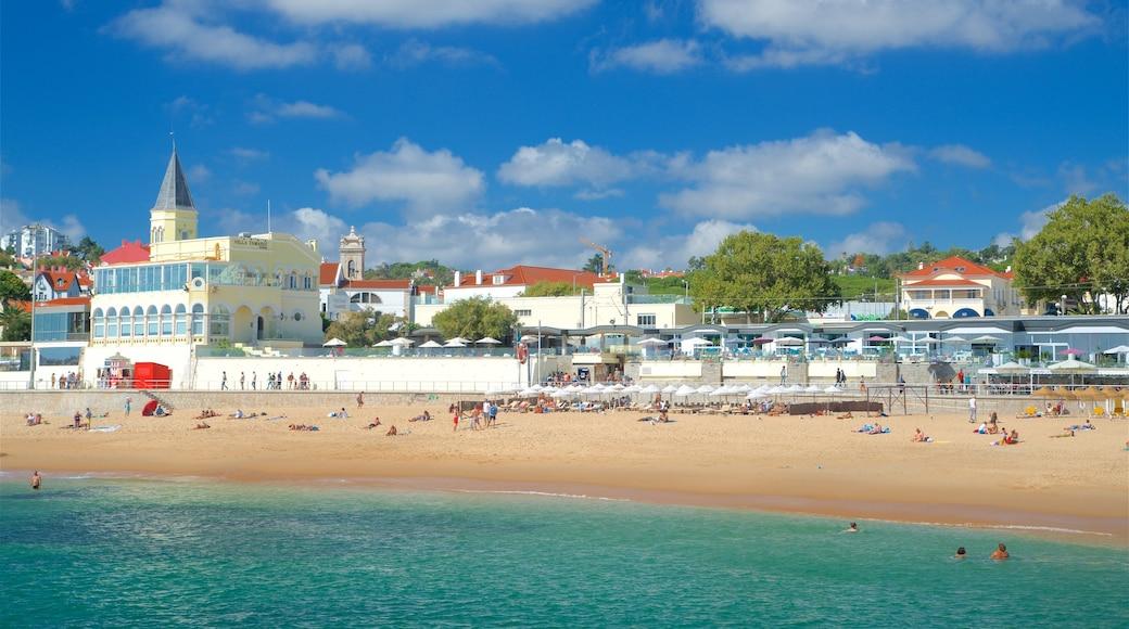 Spiaggia di Tamariz che include spiaggia sabbiosa, nuoto e vista della costa