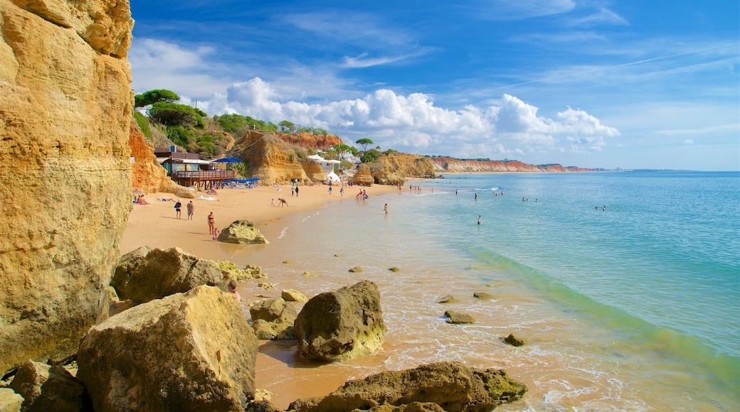 Olhos D\'Agua Beach featuring general coastal views, rugged coastline and a beach