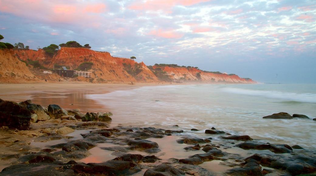 Falesia Beach showing rocky coastline, general coastal views and a sandy beach