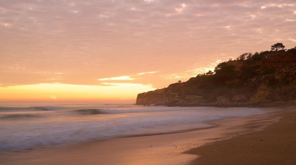Falesia Beach showing general coastal views, a sunset and a sandy beach