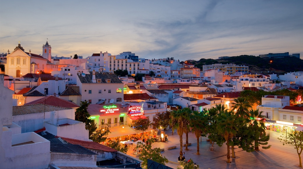 Albufeira Old Town Square which includes night scenes and a city