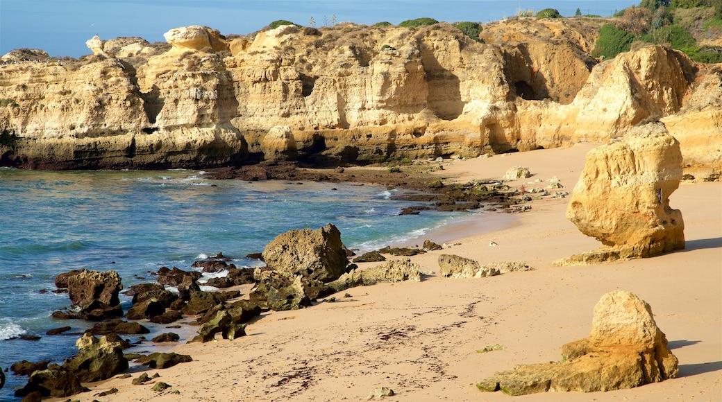 Sao Rafael Beach showing a sandy beach, general coastal views and rocky coastline