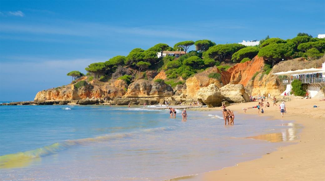 Olhos D\'Agua Beach showing general coastal views, rocky coastline and a sandy beach