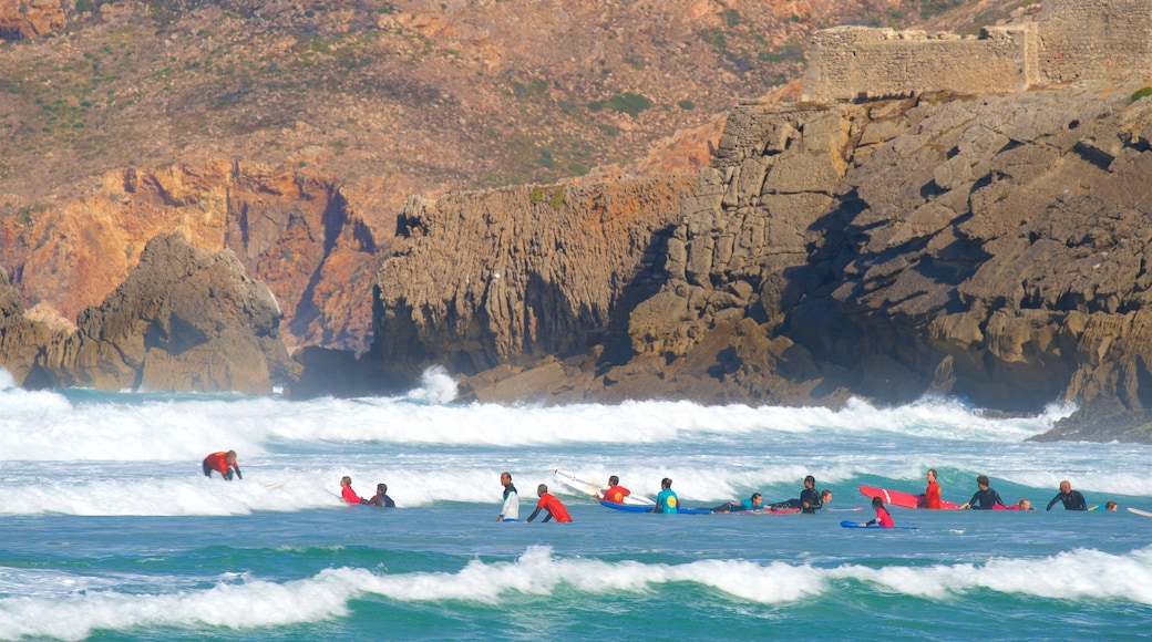 Guincho Beach showing general coastal views, surfing and rugged coastline