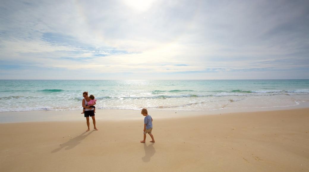 Faro Island Beach featuring general coastal views and a sandy beach as well as a family