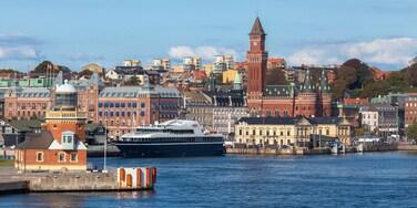 Helsingborg presenterar kryssning, en stad och en hamn eller havsbukt