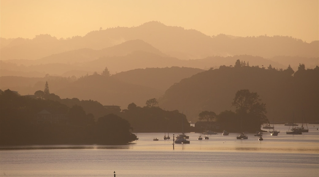 Paihia showing a bay or harbour, tranquil scenes and a sunset