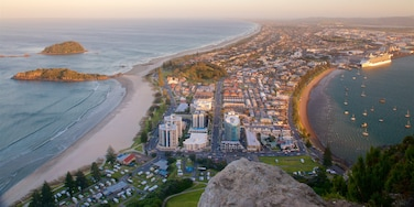 Mount Maunganui showing a city, a coastal town and a sunset