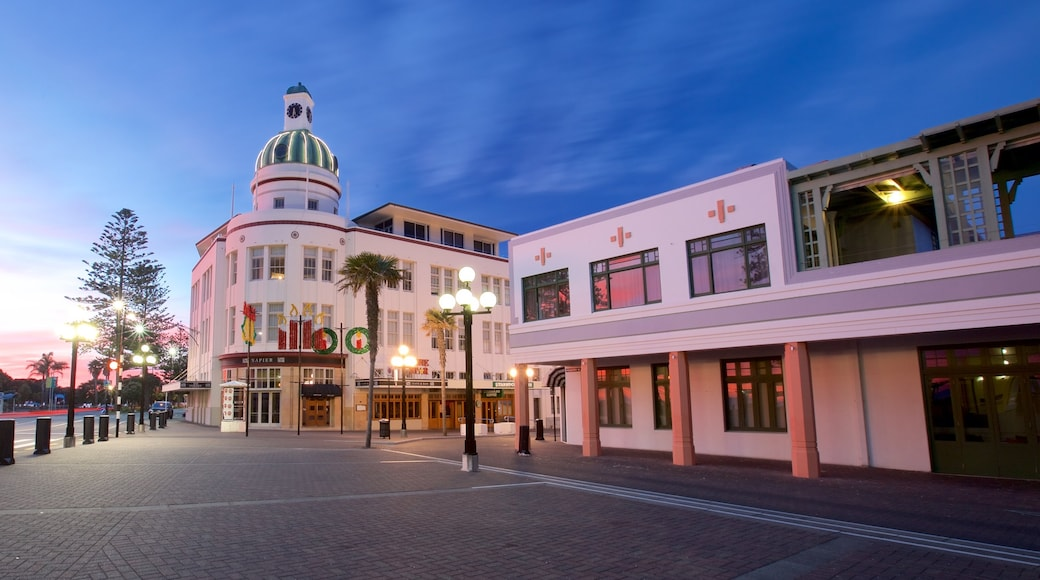 Napier which includes a sunset and a square or plaza