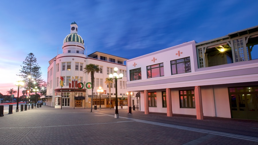 Napier showing a square or plaza and a sunset