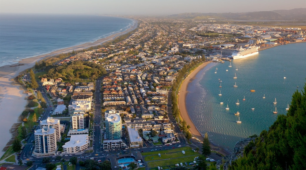 Mount Maunganui showing a coastal town, a bay or harbour and general coastal views