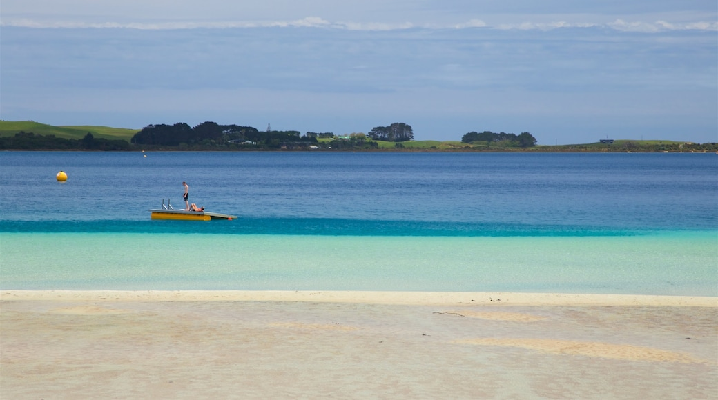 Kai Iwi Lakes featuring a bay or harbour, a beach and boating