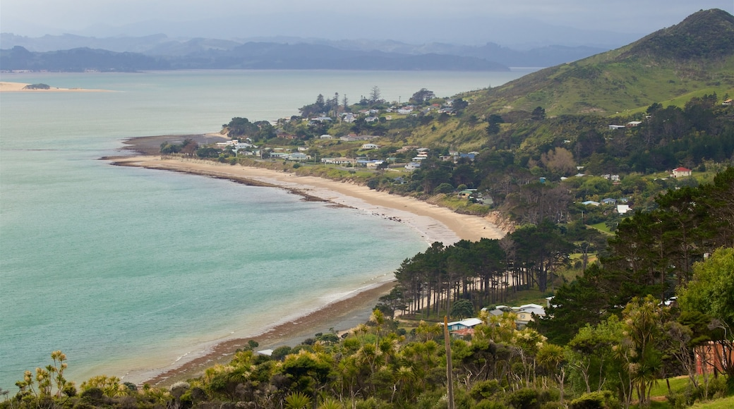 Omapere which includes a sandy beach, a coastal town and general coastal views