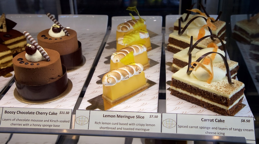 Makana Confections which includes interior views and food