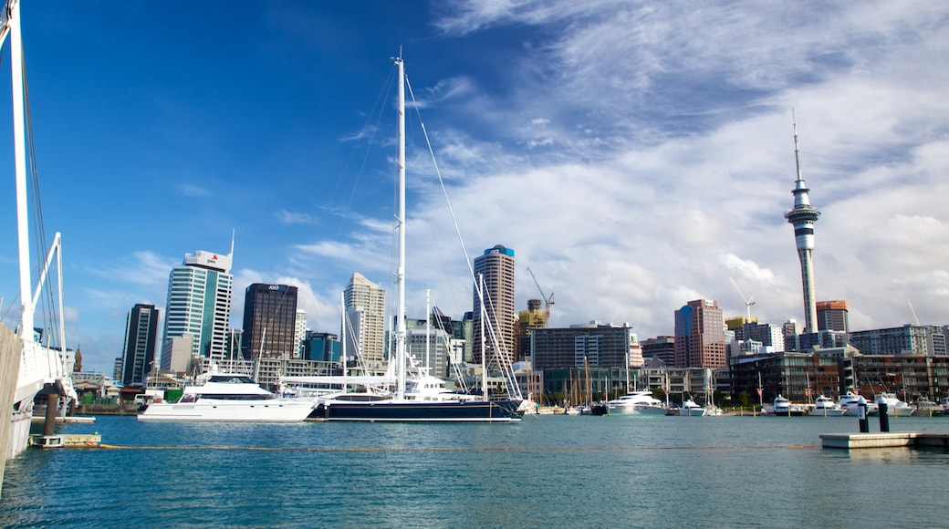 Viaduct Harbour showing a bay or harbour, a high-rise building and a city