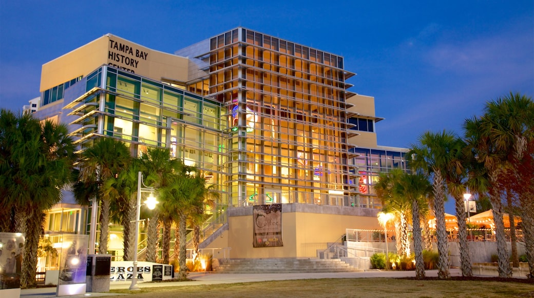 Tampa Bay History Center showing night scenes and signage