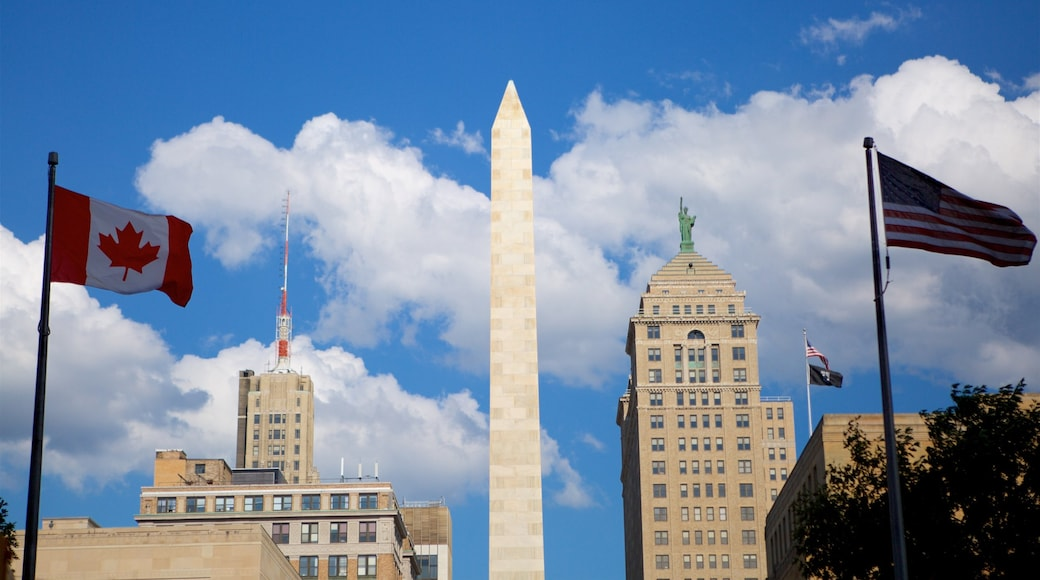 Buffalo showing a city, a monument and a skyscraper