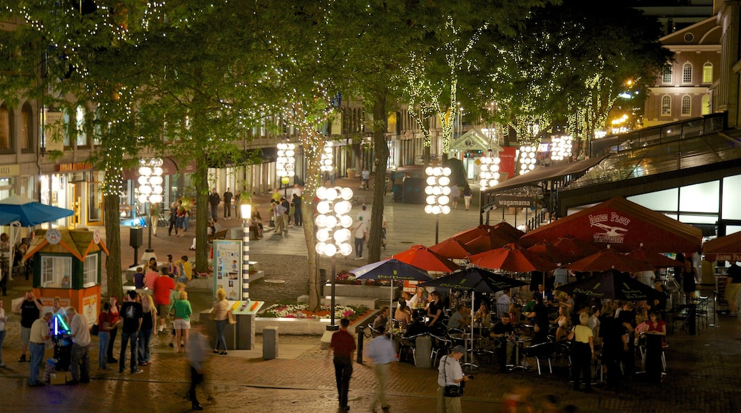 Downtown Boston showing night scenes and outdoor eating as well as a small group of people