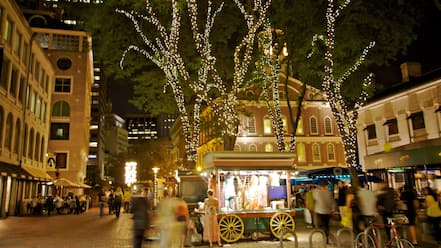 Downtown Boston which includes night scenes and a city as well as a small group of people