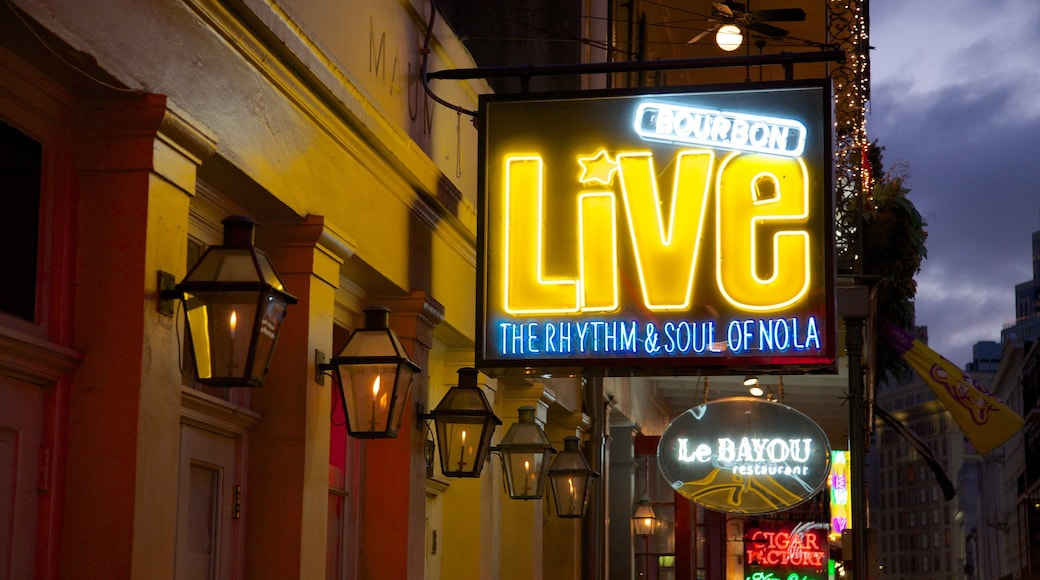 Bourbon Street which includes signage