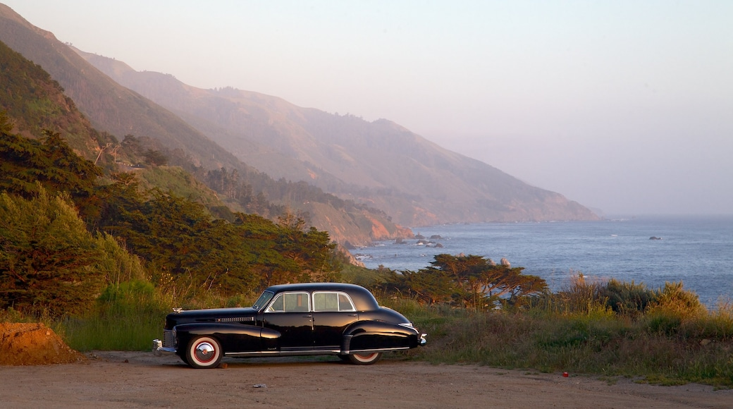 Big Sur which includes mist or fog, heritage elements and rocky coastline