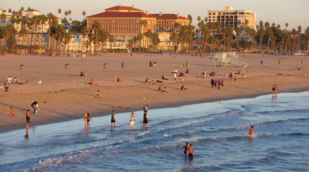 Santa Monica Beach showing general coastal views, a beach and a sunset