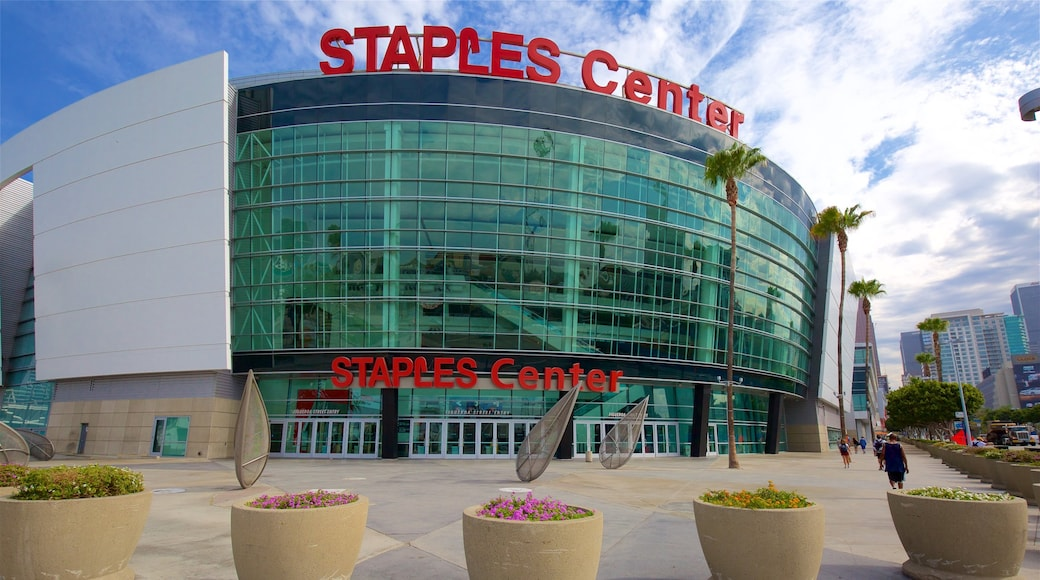 Staples Center featuring modern architecture, flowers and signage