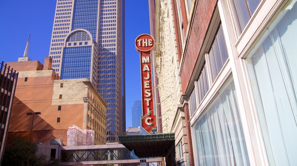Majestic Theater which includes a city, signage and theatre scenes