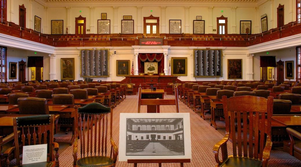 Capitolio de Texas que incluye un edificio administrativo, patrimonio de arquitectura y vistas interiores