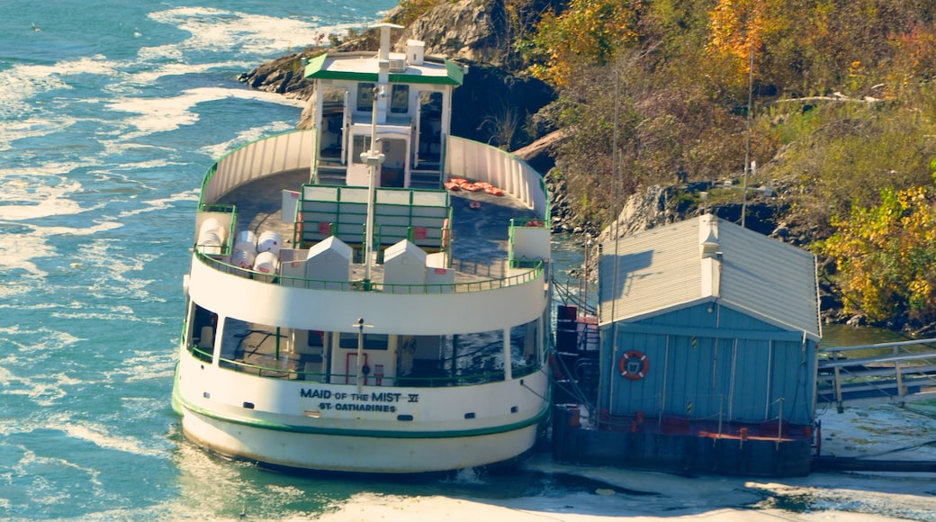 Maid of the Mist showing a marina, a river or creek and autumn leaves