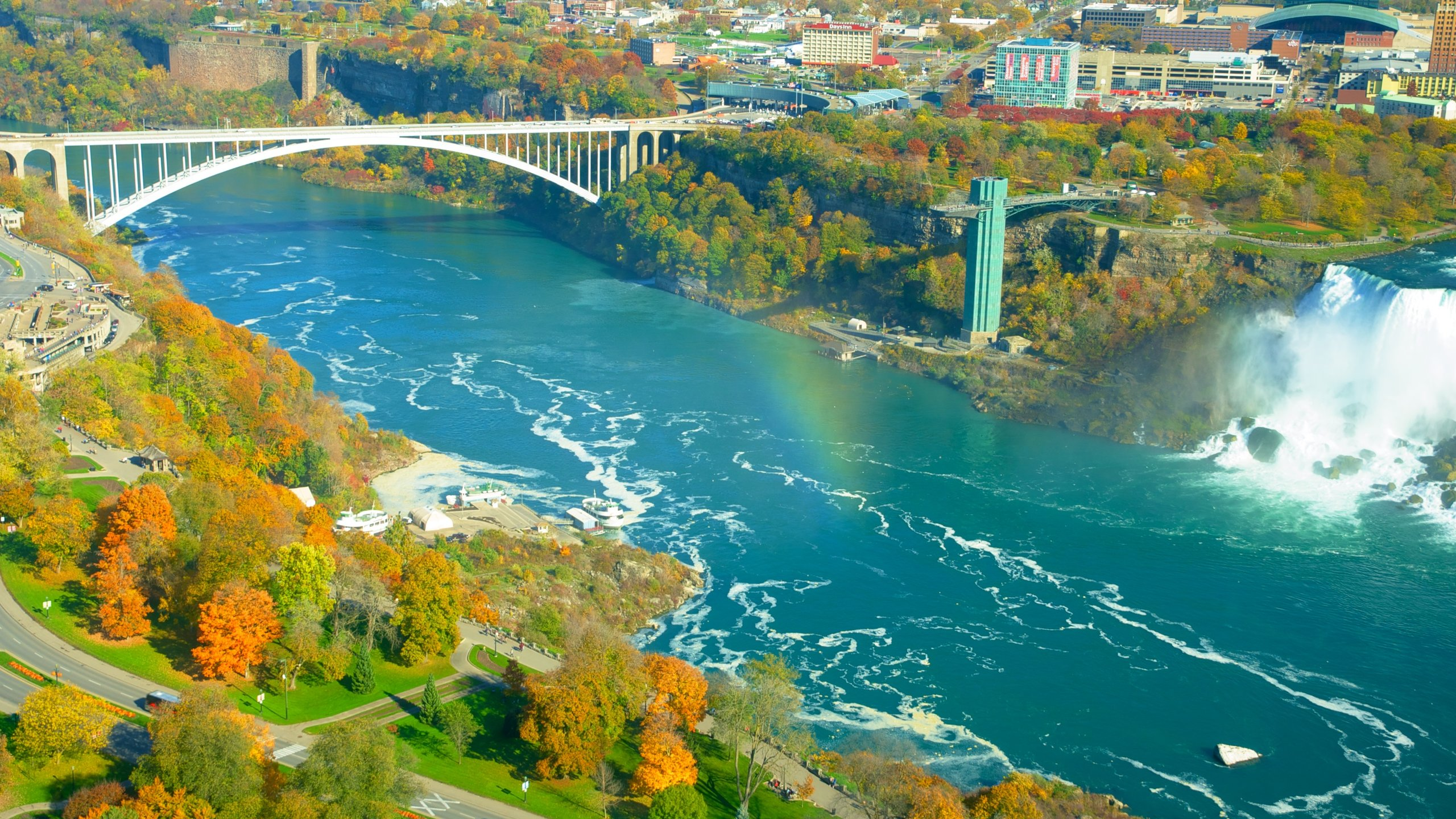 Walk, cycle, or drive across the border and enjoy an unimpeded view of Niagara Falls.
