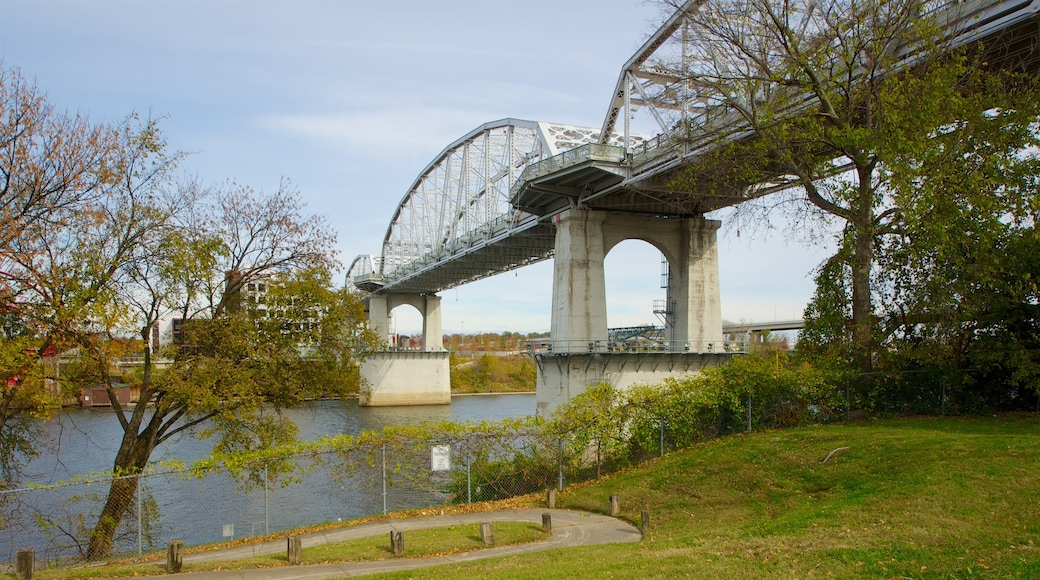 Riverfront Park featuring a park, a bridge and a river or creek