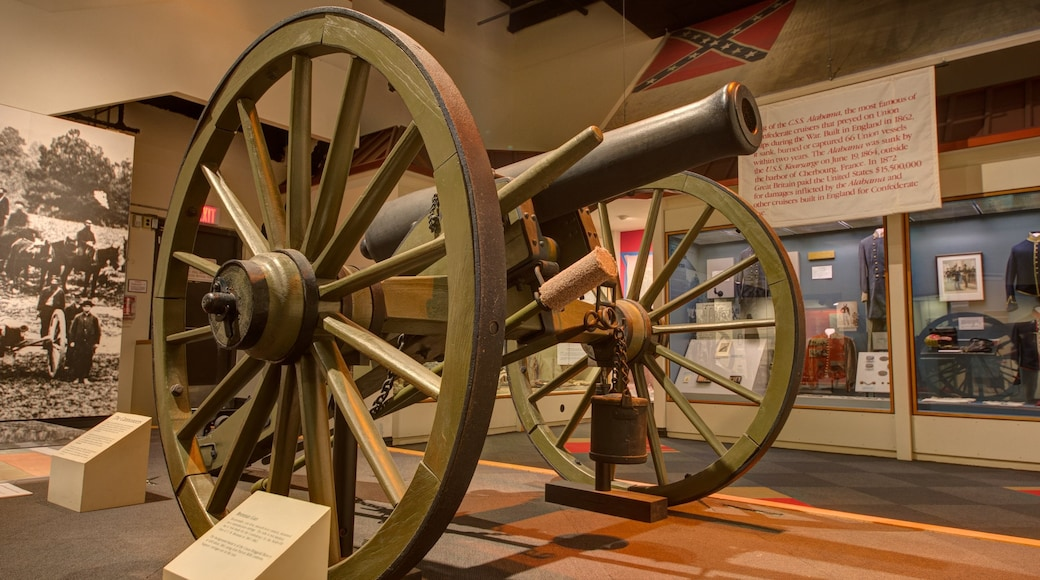 Tennessee State Museum showing interior views and military items