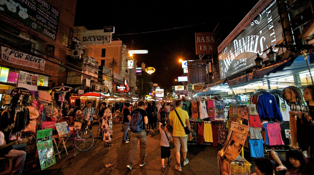 Khao San Road which includes markets, street scenes and night scenes